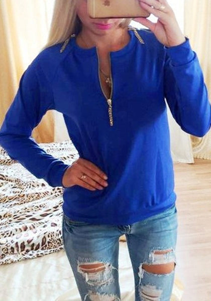 Blue Irregular Zipper Round Neck Long Sleeve Pullover Sweatshirt
