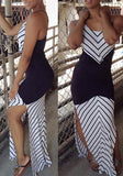 Black-White Striped Cut Out Cross Back Side Slit Beach Casual Maxi Dress