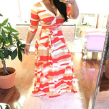 Multicolor Geometric Print Sashes Draped Deep V-neck High Waisted Bohemian Maxi Dress