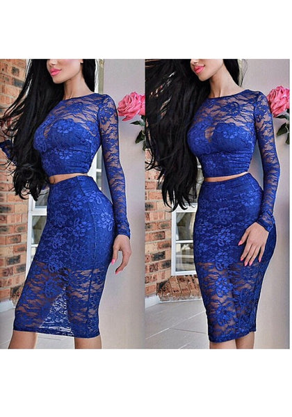 Blue Patchwork Lace Cut Out Two Piece Crop Prom Evening Party Midi Dress