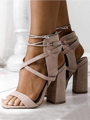 Beige Piscine Mouth Round Toe Chunky Fashion High-Heeled Sandals