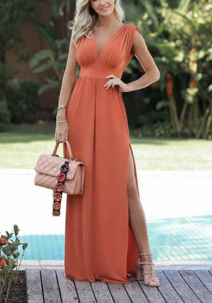 Orange Side Slit Deep V-neck High Waisted Flowy Elegant Party Maxi Dress