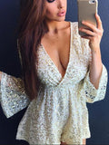 Beige Patchwork Sequin V-neck Long Sleeve Sparkly Glitter Birthday Party Short Jumpsuit
