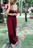 Burgundy Draped Cut Out Side Slit Knot Deep U-neck Casual Maxi Dress