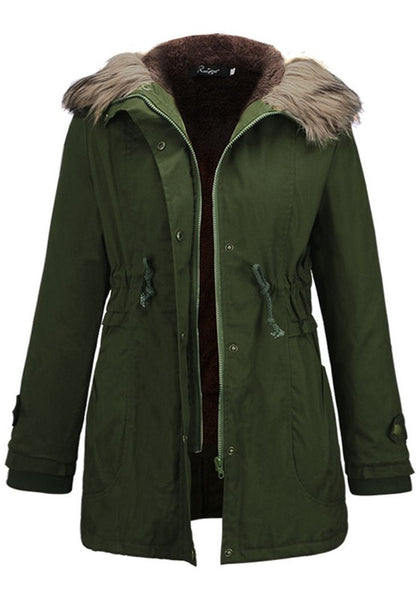 Army Green Pockets Zipper Drawstring Fur Hooded Long Sleeve Thick Coat