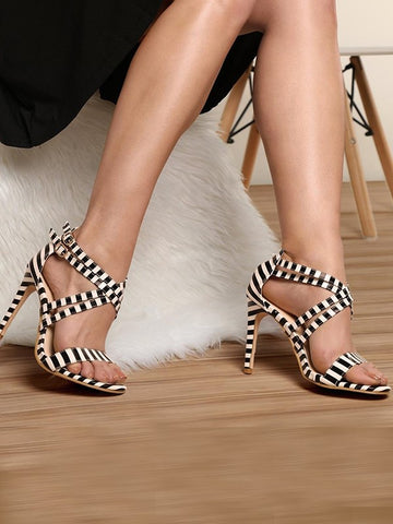 White Round Toe Stiletto Print Fashion High-Heeled Sandals