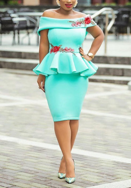 Baby Blue Embroidery Off Shoulder Backless Peplum Bodycon Banquet Elegant Midi Dress