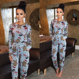 Grey Floral Print Drawstring Waist Casual Long Jumpsuit