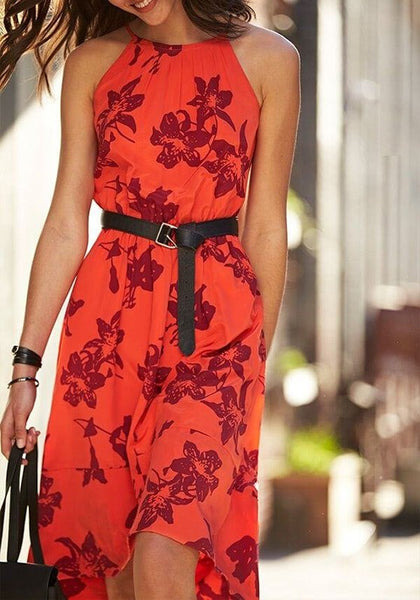 Nacarat Floral Condole Belt Round Neck Fashion Maxi Dress