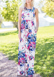 White Floral Print Pockets Sleeveless High Waisted Bohemian Maxi Dress
