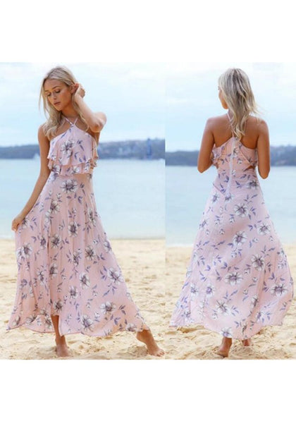 Light Pink Print Ruffle Slit Backless Maxi Dress