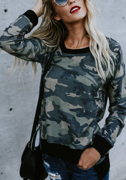 Green-Black Patchwork Camouflage Round Neck Long Sleeve Casual Pullover Sweatshirt