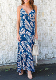 Navy Blue-White Floral Spaghetti Strap Cut Out Tie Back Maxi Dress