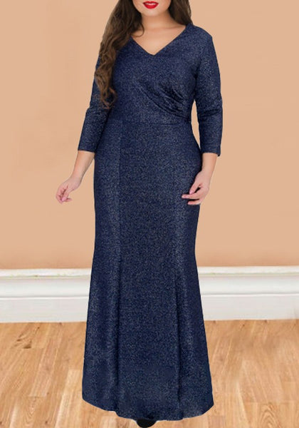 Dark Blue Bright Wire Mermaid High Waisted Plus Size Party Maxi Dress