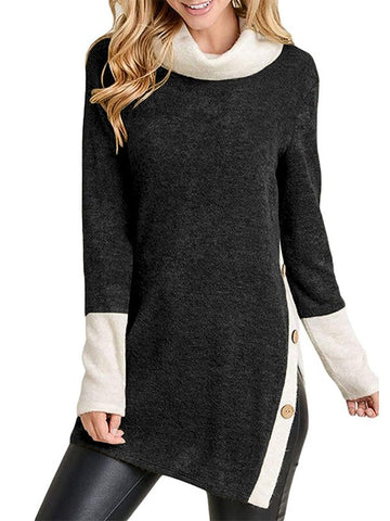 Black Patchwork Buttons Side Split High Neck Fashion Sweatshirt