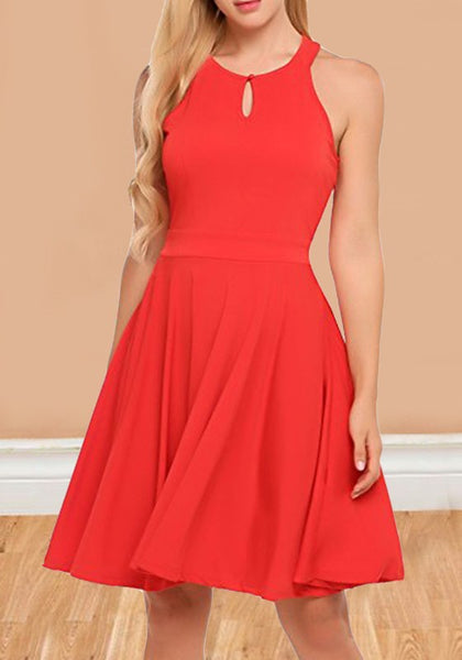 Red Cut Out Draped Halter Neck High Waisted Homecoming Graduation Party Midi Dress