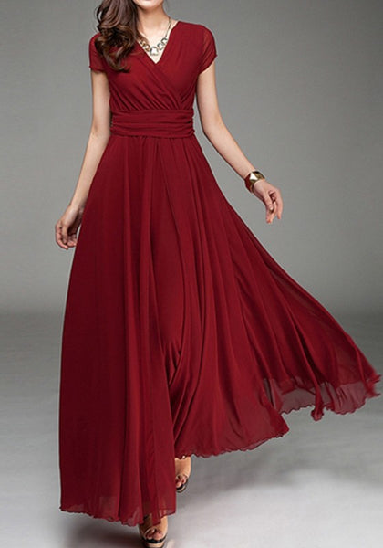 Red Pleated Double-deck Bohemian Short Sleeve Elegant Maxi Dress