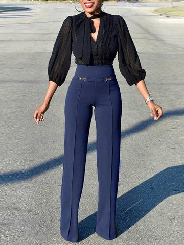 Blue High Waisted Wide Leg Palazzo Elegant Vintage Long Pant