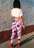 Pink Floral Print Drawstring Waist Casual Nine's Pants