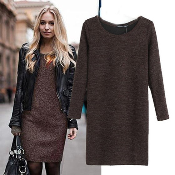Brown Plain Round Neck Fashion Midi Dress