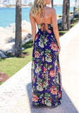 Sapphire Blue Draped Spaghetti Strap Halter Neck Backless Flowy Vegas Bohemian Maxi Dress