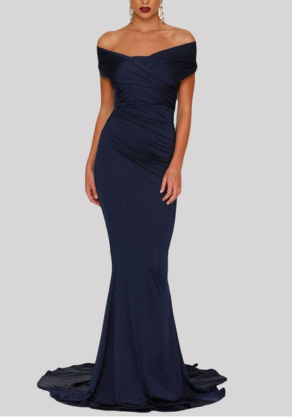Blue Pleated Bodycon Off Shoulder Backless Mermaid Elegant Party Maxi Dress