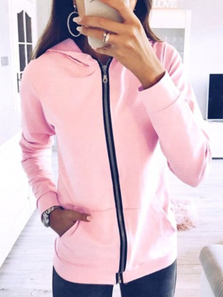 Pink Pockets Zipper Hooded Long Sleeve Fashion Sweatshirt