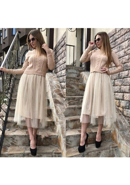 Apricot Grenadine Round Neck Long Sleeve Fashion Midi Dress