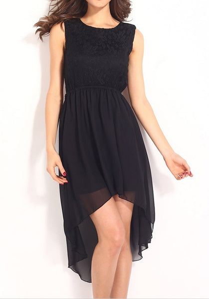 Black Patchwork Grenadine Lace Swallowtail Midi Dress