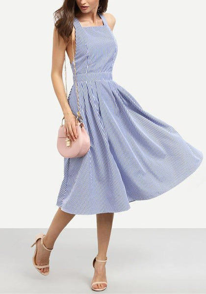 Light Blue Striped Pockets Shoulder-Strap Going out Party Midi Dress