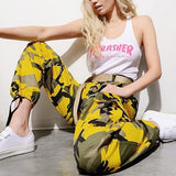 Yellow Camouflage Print Pockets High Waisted Casual Camo Long Pants