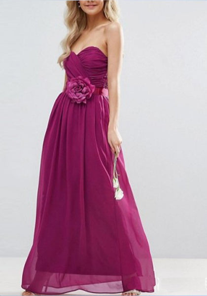Purple Pleated Bandeau Bow Sleeveless Chiffon Maxi Dress
