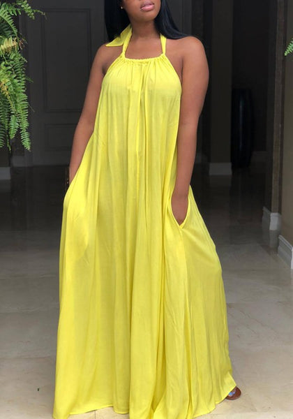Yellow Pockets Spaghetti Strap Halter Neck Backless Ruched Flowy Beachwear Party Maxi Dress