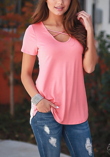 Pink Floral Print V-neck Short Sleeve T-Shirt