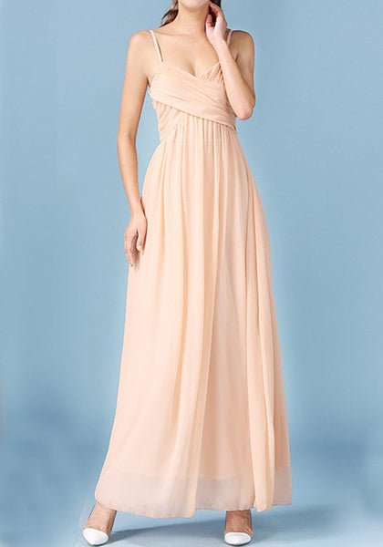 Apricot Spaghetti Strap Tie Back Zipper Open Back Maxi Dress