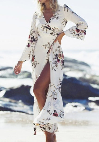White Floral Print Lace-up Peplum Deep V-neck Flare Sleeve Bohemian Maxi Dress