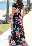 Black Floral Pockets Round Neck Fashion Maxi Dress