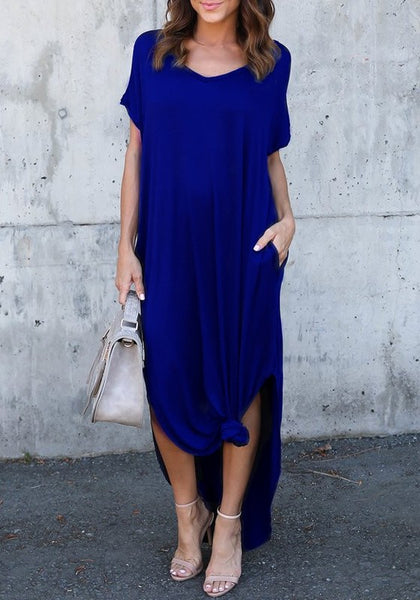Blue Pockets Double Slit Knot V-neck Casual Going out Maxi Dress