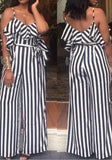 Black-White Striped Ruffle Sashes Backless Spaghetti Strap Wide Leg Long Jumpsuit