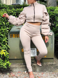 Apricot Cascading Ruffle Zipper Two Piece Long Sleeve Space Cotton Casual Long Jumpsuit