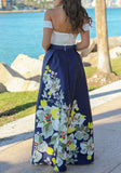 Blue Floral Lace Boat Neck Elegant Prom Evening Party Maxi Dress