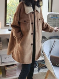Brown Fur Pockets Buttons Irregular Turndown Collar Long Sleeve Elegant Coat