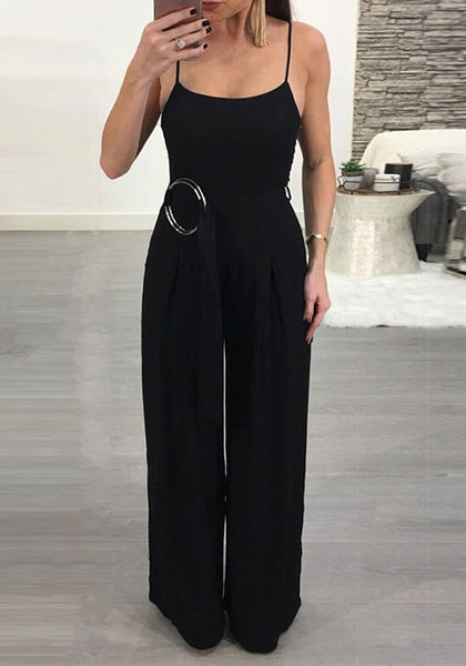 Black Sashes Spaghetti Strap Backless One Piece Party Wide Leg Long Jumpsuit