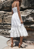 White Floral Lace Pleated Single Breasted Spaghetti Strap Backless Beach Party Bohemian Maxi Dress