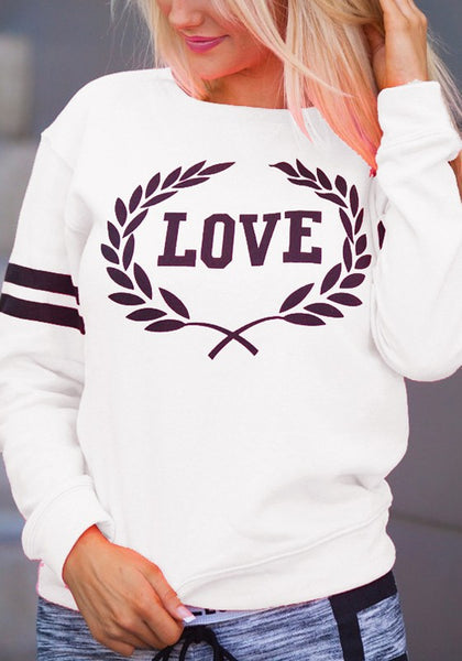 White Letter Print Round Neck Long Sleeve Casual Pullover Sweatshirt