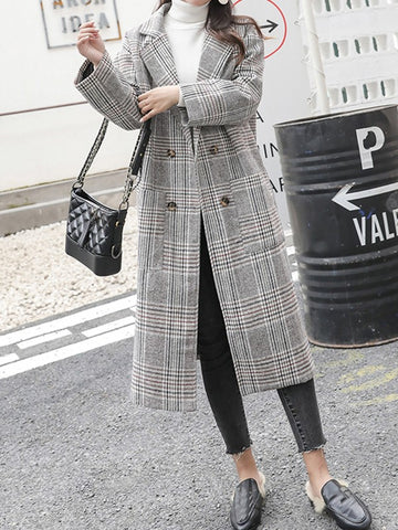 Apricot Plaid Pockets Double Breasted Turndown Collar Fashion Outerwear