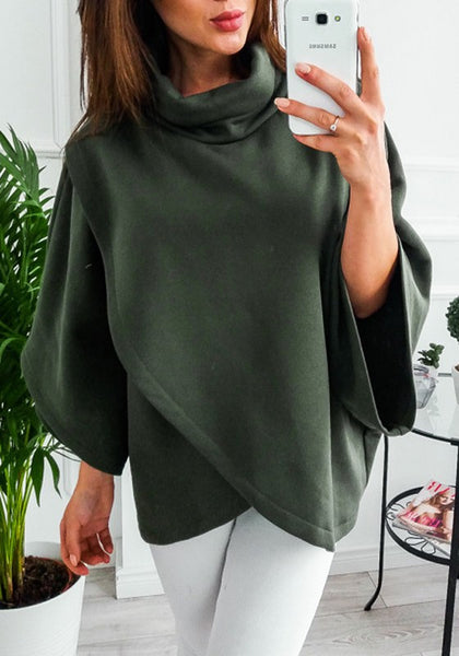 Army Green Irregular High Neck Long Sleeve Casual Pullover Sweatshirt