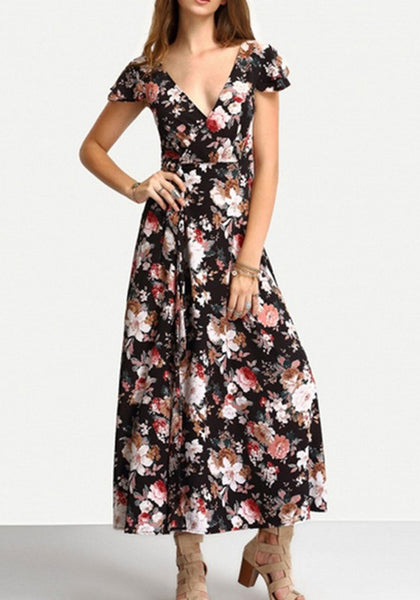 Black Floral Print Belt V-neck Short Sleeve Sweet Maxi Dress