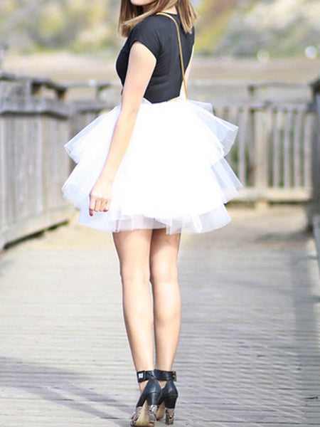 White Grenadine Pleated Elastic Waist Party Tutu Mini Skirt