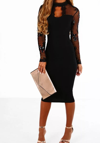 Black Patchwork Sequin Grenadine Round Neck Fashion Midi Dress